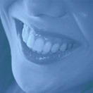 Closeup of health happy smile blue highlight