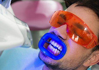 Man receiving teeth whitening in office
